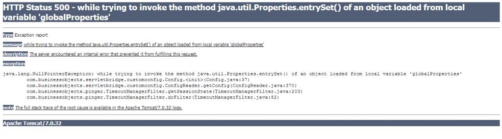 SAP BO HTTP Status 500 Error